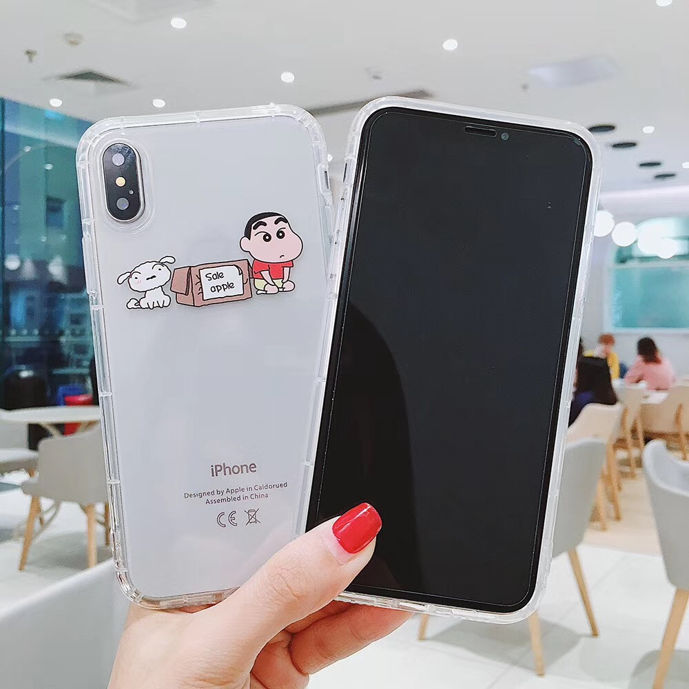 Cute cartoon fun pattern Crayon Shin chan phone case For iPhone 8 7 6 6S Plus XR XS MAX animal puppy clear soft TPU back cover in Fitted Cases from Cellphones Telecommunications