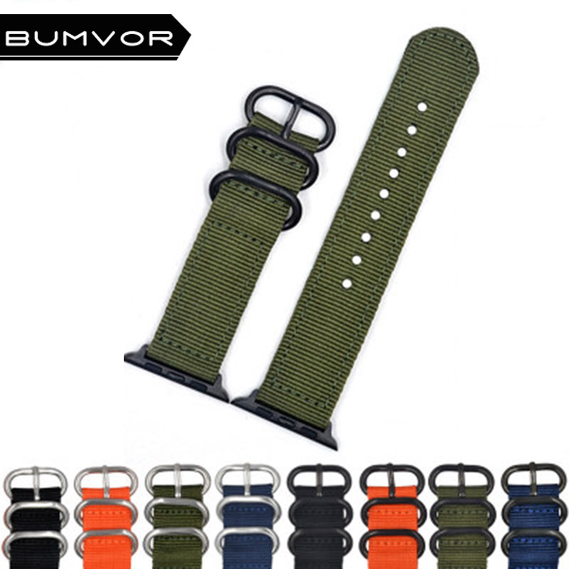 BUMVOR Woven Nylon band strap for apple watch 44/40/42/38 mm sport fabric nylon bracelet watchband iwatch 4/3/2/1 black