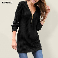 e9ed242e9b Sweater Woman Winter 2019 Autumn Solid Long Sleeve Zipper V Neck Women  Knitted Pullovers Casual Knitting. Camisola Da Mulher ...