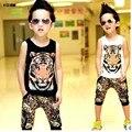 ГОРЯЧАЯ! 2017 детская одежда торговля tiger head Жилет + леопарда брюки тигр костюм спортивный костюм Хип-Хоп Одежды 7 минут брюки