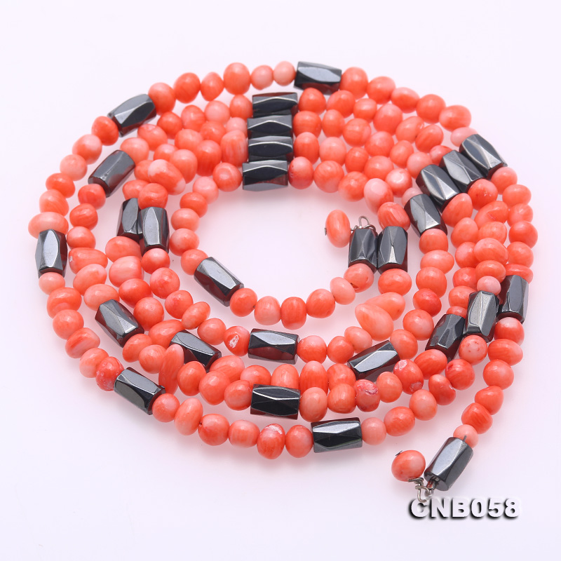 YX Coral Bracelet 4mm Red Beads 7.5 Gemstone Jewelry Bangle