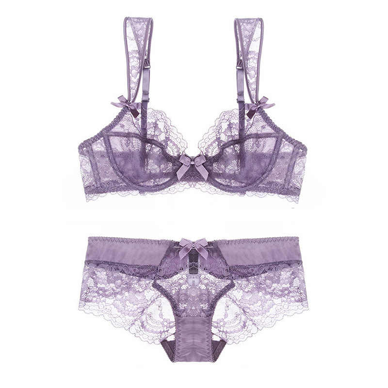 107d04574d 2017 New French Bra Set Slim Breathable Rose Floral Lace Sexy Seductive  Lingerie Big Size See