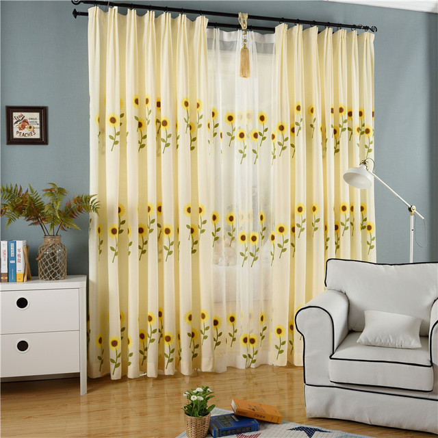 Pastoral Beige Yellow Sunflower Rose Shading Curtains For Living Room  Dining Room Embroidery Bedroom Curtains Tulle