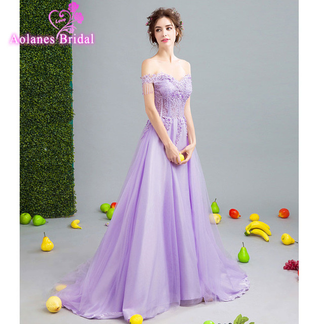 Purple Floor Length Evening Dress