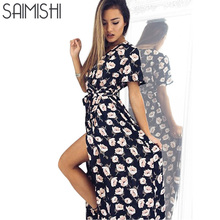 Saimishi Size S-XL  Bohemian Style Floral Printed Deep V Dress Self Belted High Split Short Sleeve Beach Dress A-Line Dress