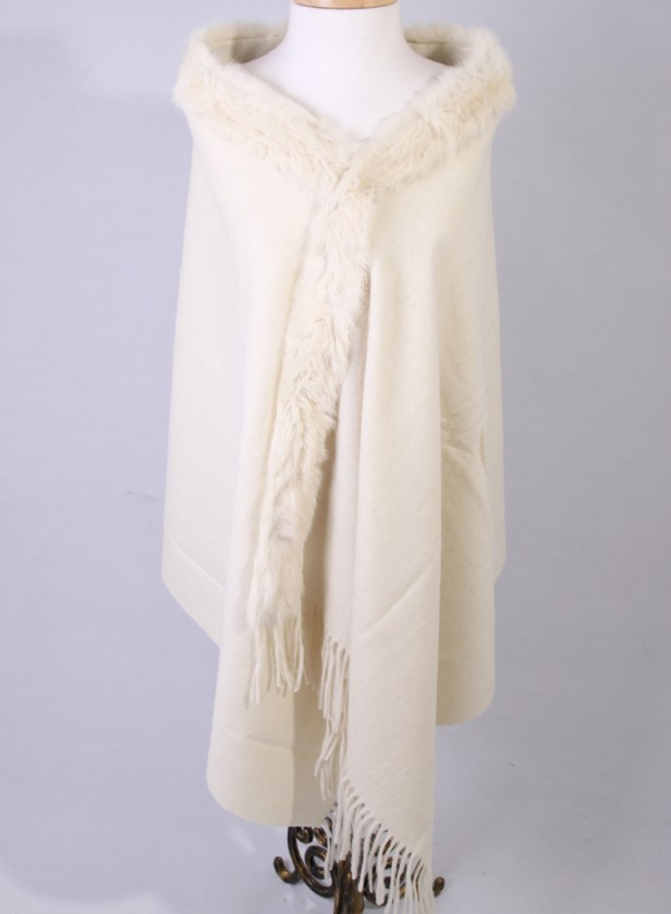 Free Shipping White Winter Fashion Ladies' 100% Wool Cashmere Rabbit Fur Shawl Scarf Thick Warm Wrap SY-8