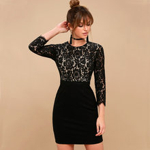 2018 Autumn New Women's Fashion Lace Patchwork Sheath Dress Casual 3/4 Sleeve O-Neck Dresses Sexy Bodycon Party Female Vestidos(China)