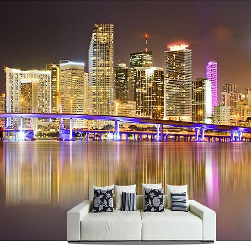 3d wall mural photo wallpaper modern city landscape night views bright lights wall paper home. Black Bedroom Furniture Sets. Home Design Ideas