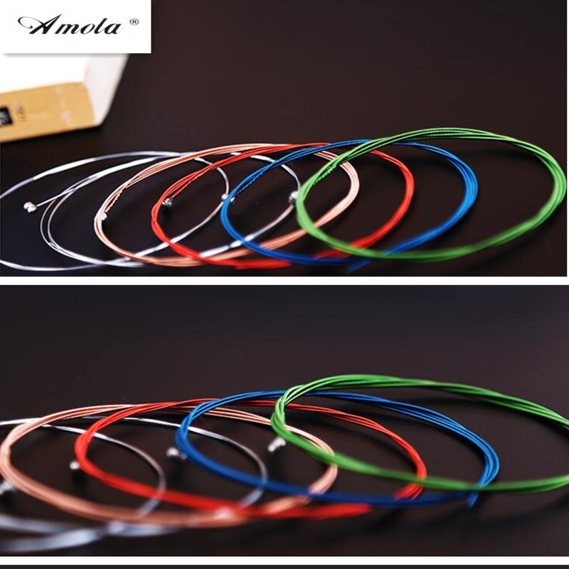 Amola  A407 010-050 6 pcs/set Rainbow Colorful Guitar Strings E-A For Acoustic Folk Guitar Classic Guitar Musical Instrument colorful classical guitar strings colorful nylon colorful coated copper alloy wound 0285 044 inch alice a107c