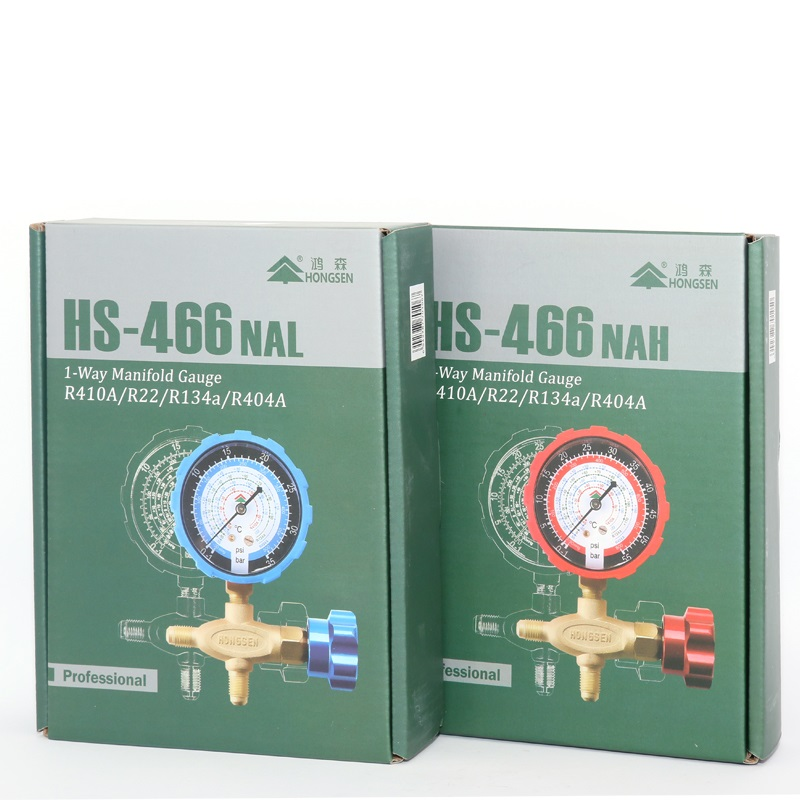 Pure copper refrigerant pressure gauge R134a/R410/R32/R22/R407C air  conditioning and fluoride table Low/high pressure