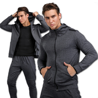 Gym Clothes Winter Top Men Long Sleeve Sport Running T Shirts Gym Hooded Sportswear Men Thick