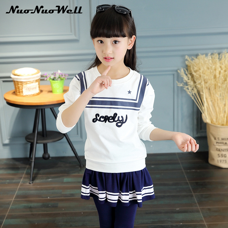 Fashion Kids Baby Girls Casual Clothes Cotton Top+Dress Pants 2pcs School Wear Children Clothing Girls Set 2 Pcs 3-10 Years fashion kids baby girl dress clothes grey sweater top with dresses costume cotton children clothing girls set 2 pcs 2 7 years