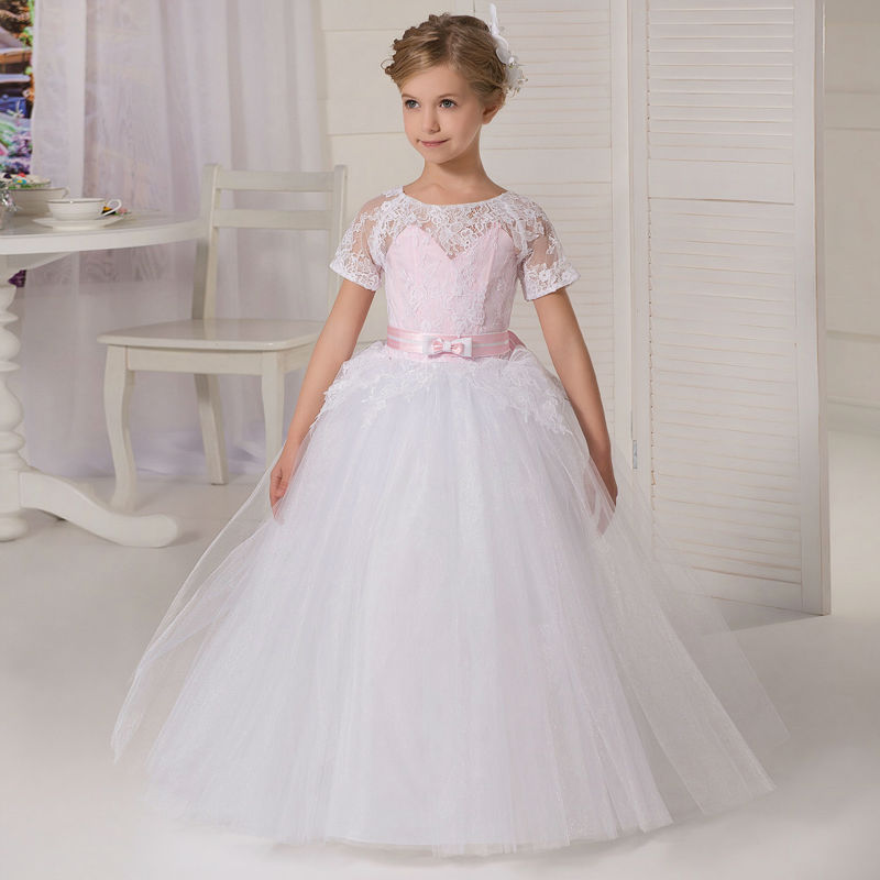 New Flower Girls Dresses For Wedding Gowns Tulle Glitz Pageant Dresses for Little Girls Long Ball Gown Mother Daughter Dresses long flower girls dresses for wedding gowns ankle length kids prom dresses lace glitz pageant dresses for little girls