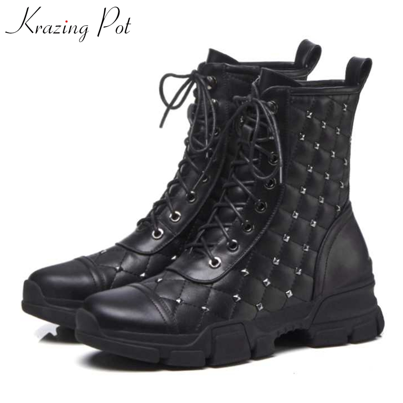 Krazing Pot Winter new genuine leather kid suede high heels round toe rivets-studded fasteners increased Chelsea ankle boots L90 krazing pot genuine leather 2018 round toe high heels metal fasteners motorcycle boots mature women round buckle ankle boots l26