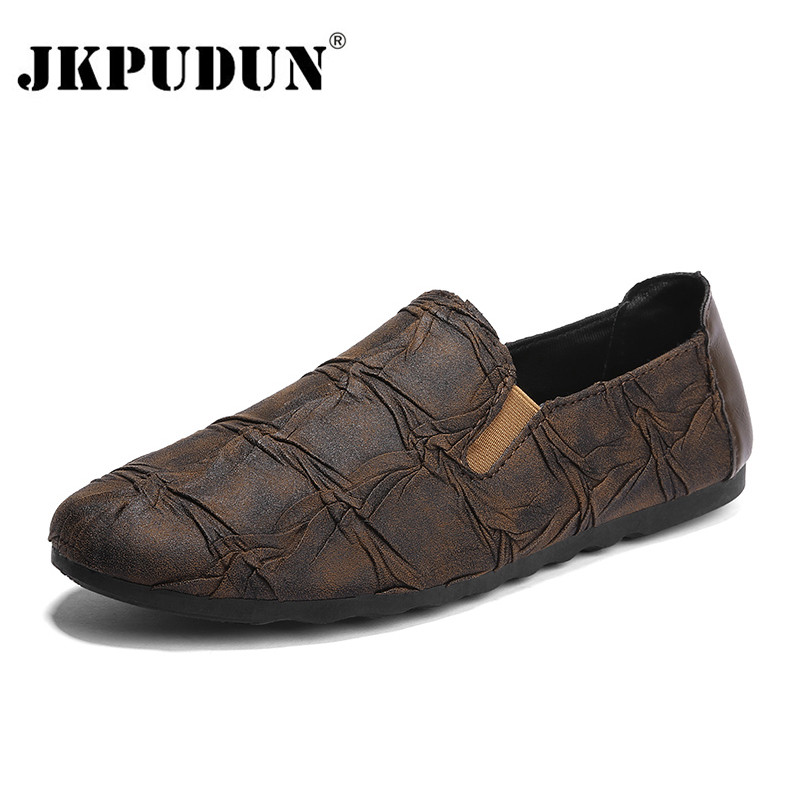 JKPUDUN Men Casual Shoes Luxury Brand 2018 Italian Fashion Men Loafers Soft Leather Mens Lazy Boat Shoes Slip On Moccasins Flats 2017 brand mens loafers moccasins slip on breathable charm men shoes casual fashion round toe brown men flats leather boat shoes