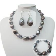 Черный жемчуг ювелирный набор ожерелье, браслет и серьги-925 серебряные серьги застежка-крючок, пресноводный жемчуг, черный барокко pearl14-25 мм