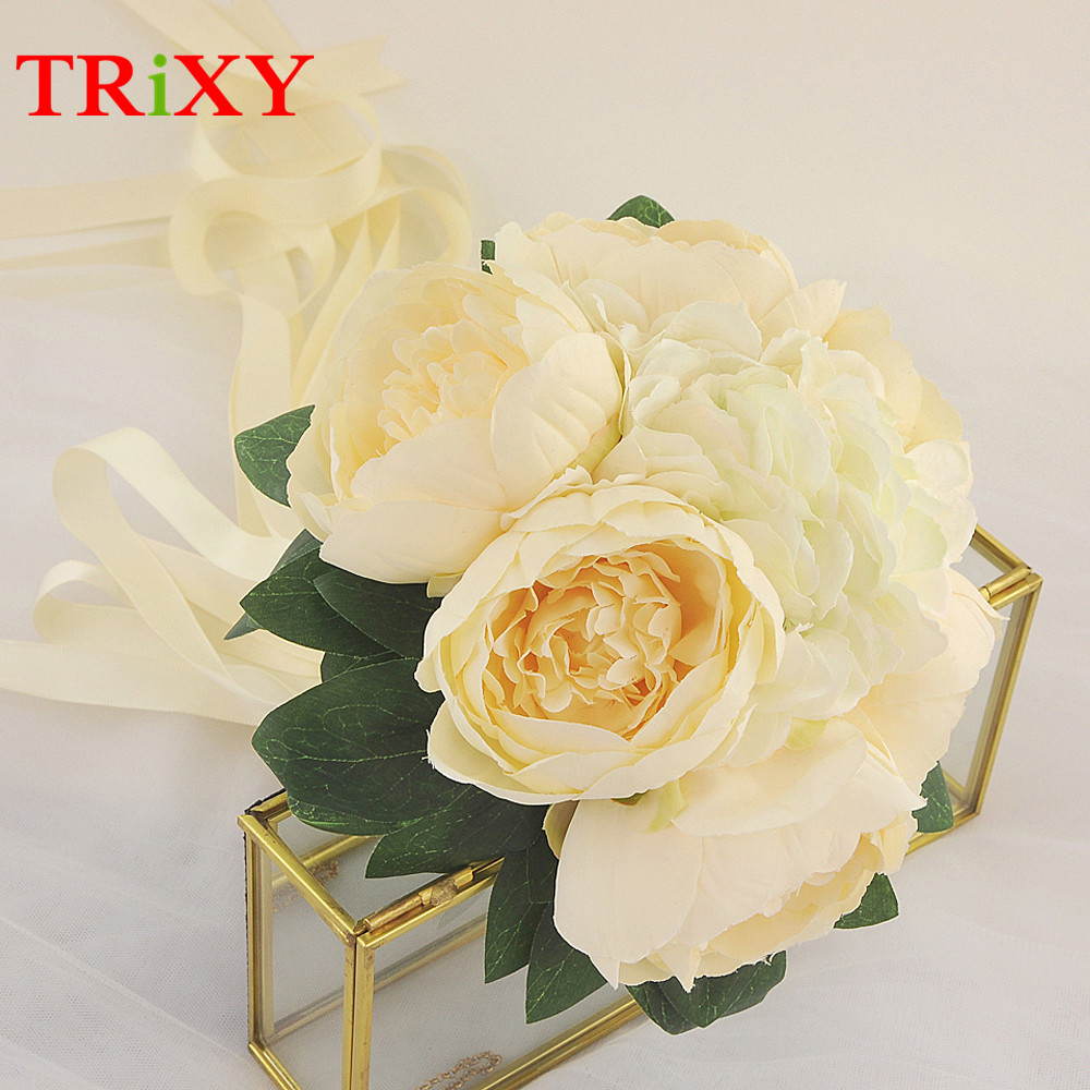 Trixy B15 Free Shipping Charming Wedding Bouquet Bride Bridal Holding Flowers Pink Rose Artificial Flowers Bridal Bouquets Weddings & Events Wedding Bouquets