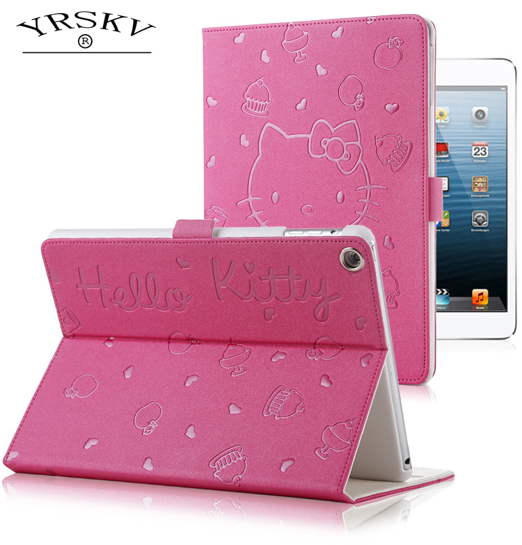 Case for iPad Air/Air 2 / for iPad 9.7 inch 2017/2018 YRSKV Hello Kitty embossed PU leather Smart Auto Sleep Wake Tablet Case new 3d stereo cute hello kitty cat shape stand case for ipad mini 4 case smart tablet pu leather cover 7 9 inch for kids girls