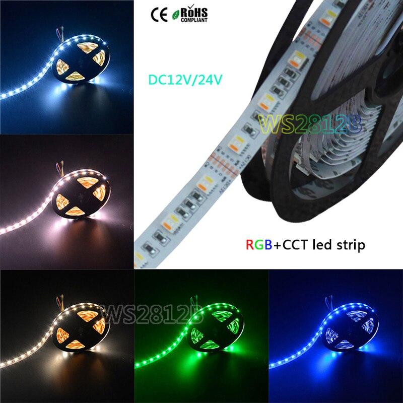 5 M DC12V/24 V RGBWW 5 couleur dans 1 bande de puce LED LED, SMD 5050 lumière flexible RGB + blanc froid et blanc chaud, 60 LED s/m IP30/67