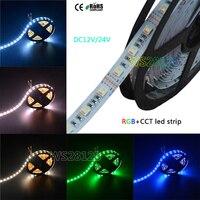 5M DC12V/24V RGBWW 5 color in 1 led chip LED Strip,SMD 5050 flexible light RGB+cool White&warm white,60Leds/m IP30/67
