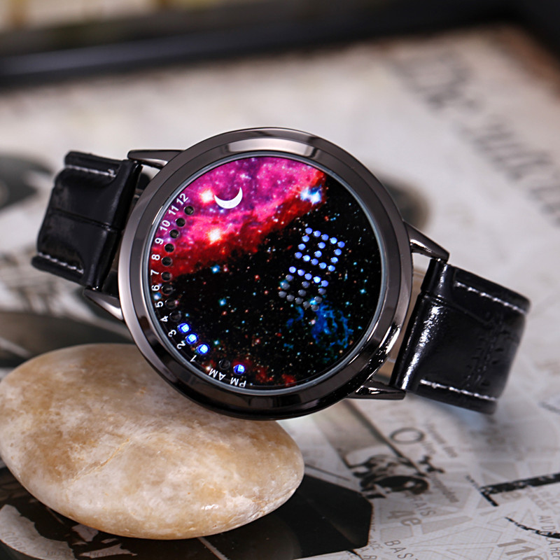 2016 New Fashion Starry Sky Touch Screen Watch Men Women Led Watches Casual Leather Man Sports Wristwatches Relogio Masculino Watches