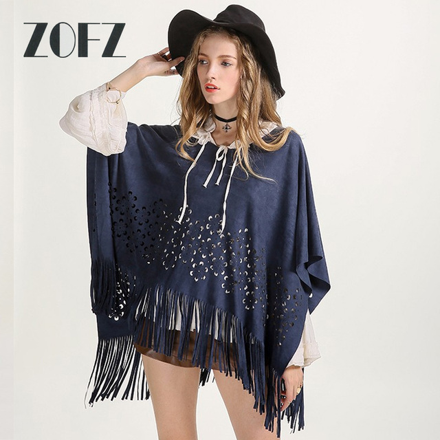 Women Faux Suede Leather Hidden Color Jacket Coat Hollow Out Flower Pattern Pullover Poncho Tassels Shawl Poncho ZO16F03