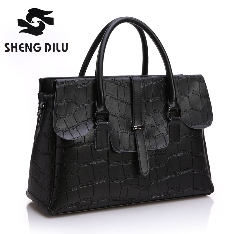ФОТО 100% genuine leather stone free shipping women handbag shengdilu brand new 2016 shoulder Messenger bag  noble