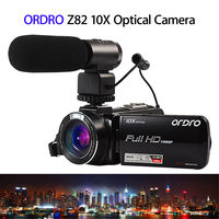 ORDRO HDV Z82 10X Optical Full HD Camcorder Hot Shoe Camera 24MP 3.0 TFT LCD With External Microphone