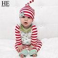 ÉL Hola Disfrutar de Navidad del bebé ropa de otoño recién nacido 3 unids raya Clothes + pants + hat del bebé fijado ropa de invierno 2016
