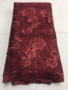 African Beaded Lace Fabric 2018 High Quality Lace Material Wine French Lace Fabric Nigerian Tulle Mesh Lace Fabrics ZJ12