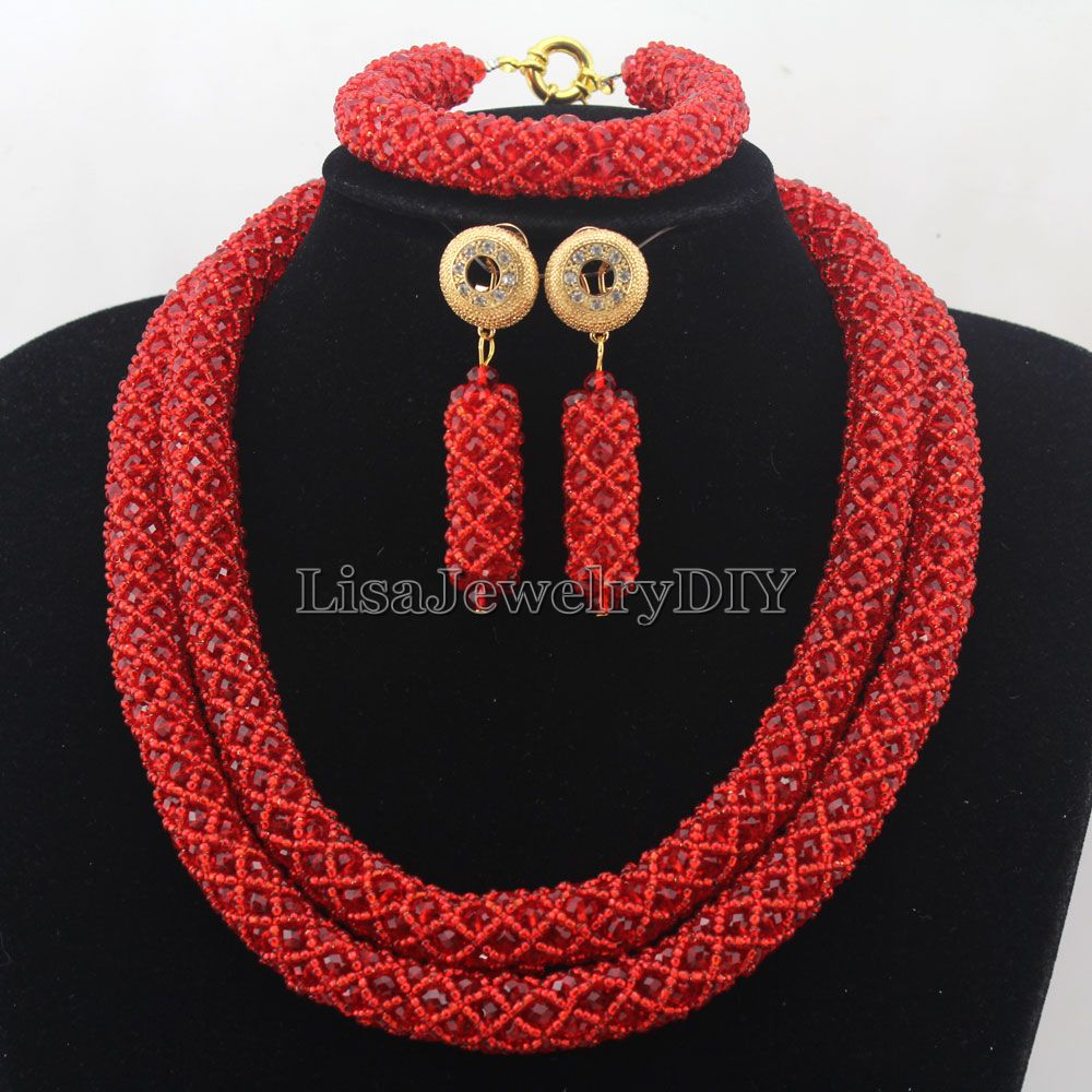 Splendid Statement Necklace African Jewelry Set African Crystal Jewelry Set for Wedding Statement Necklace Jewelry HD7257 nylon rope alloy statement necklace set