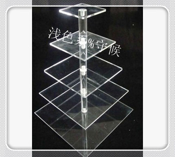 Free Shipping Square Clear 5 Tier Acrylic Cupcake Stands For Wedding Lucite Birthday Party Cake Dessert Display Stand decoration