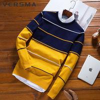 VERSMA 2018 Winter Korean Slim Fit Ugly Christmas Sweater Men Pullover Stripe Long Sleeve Knitted Xmas Men Sweater Plus Size 5XL