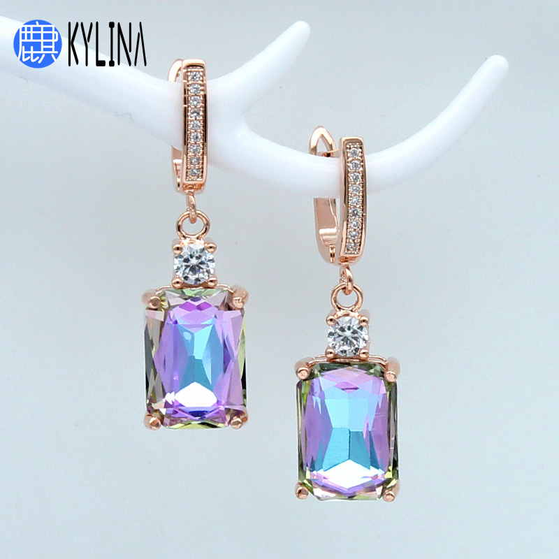 KYLINA 2019 New Square Crystal 585 Rose Gold Dangle Earrings Korean Temperament Romantic For Women Wedding Party Fashion Jewelry