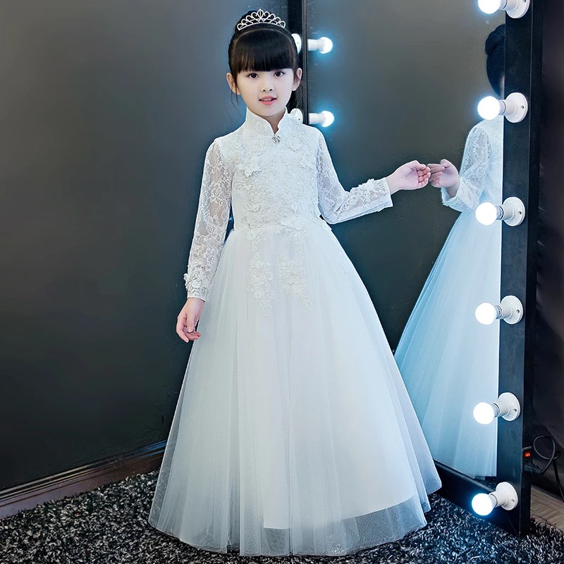 New Arrival Children Kids Snow White Princess Lace Birthday Wedding Party Dress Girls Babies Ball Gown Mesh Ankle-Length Dress 2017 new high quality girls children white color princess dress kids baby birthday wedding party lace dress with bow knot design