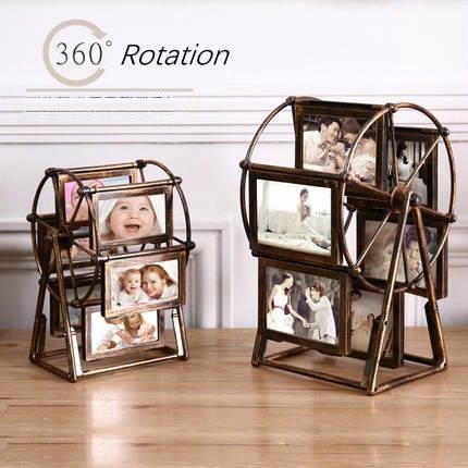 Grande roue décorative Multi Photo cadre Vintage cadres Photo 5 pouces/4 pouces cadres en plastique pour les images