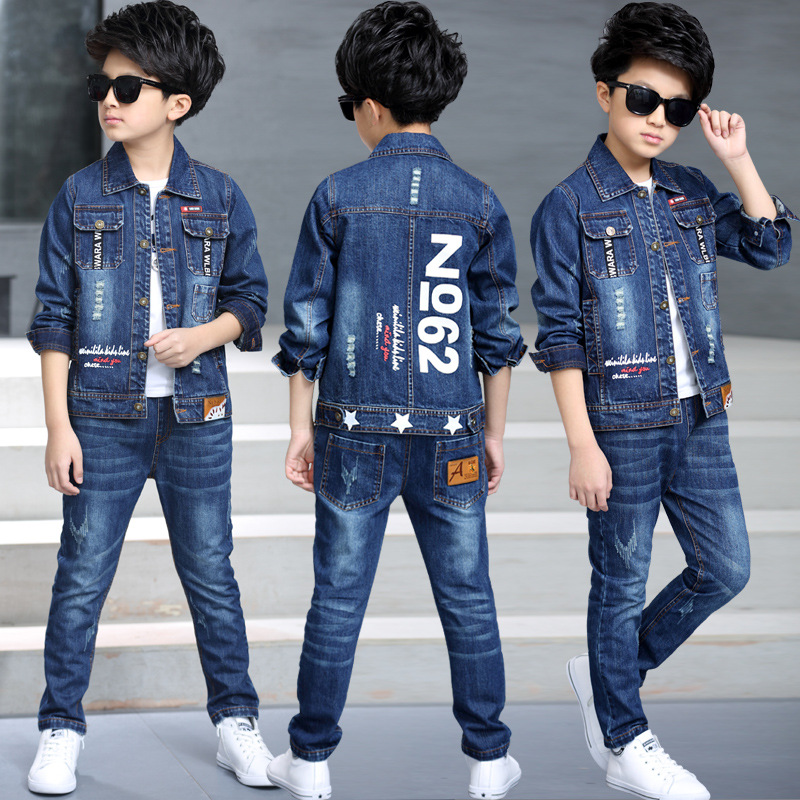 Children's clothing boy spring suit 2019 new Korean children's denim suit two sets of spring and autumn children clothes tide