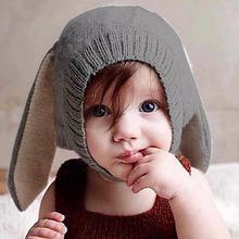 Ins niños invierno sombrero hecho punto caliente Skullies Bonnet forma  Animal lana sombreros gorras Orejas de conejo sombrero de. 46e148e3080