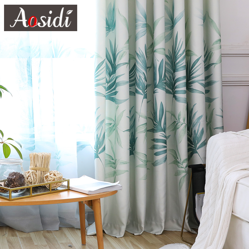 Green Leaves Printed Curtains For Living Room Bedroom Window Modern Sheer Tulle And Curtains Luxury Chinese Drapes Fabric Blinds