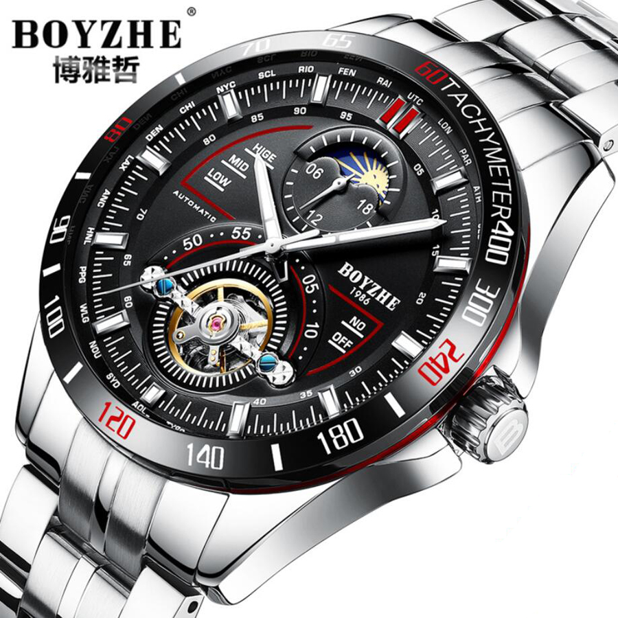 Fashion Luxury Brand Luminous Tourbillon Watch Automatic Men Wristwatch Male Mechanical Steel Military Watches Relogio Masculino men gold watches automatic mechanical watch male luminous wristwatch stainless steel band luxury brand sports design watches