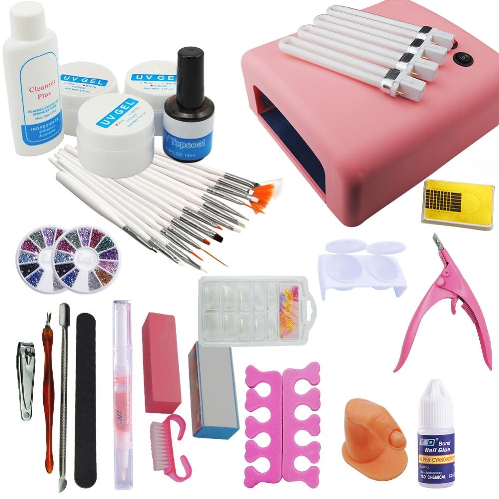 Nail Art Tools Simple: New Pro 36W Pink UV Lamp 12 Pcs Colored UV Gel Top Coat