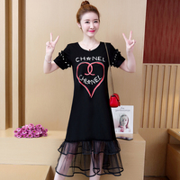 Plus size summer dress female tshirt dress stitching mesh lace in the long dresses belly big belly belly women's printed dress