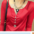 2014 New Solid Color Long Sleeve Shirt V-Neck Sexy And Fashion Blouse With Button Black White And Red