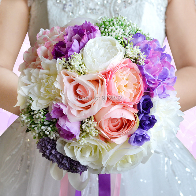 2018 spring Rustic silk Flower and greenery mixed wedding bouquet ...