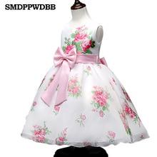 SMDPPWDBB Blanc Filles Sans Manches Princesse Enfants fleur fille robe Pour Le Mariage 3-8 Ans Filles Trailing Parti De Bal Arc robes