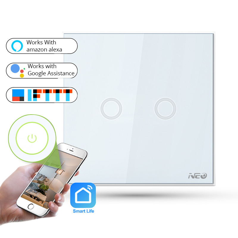 APP WiFi Remote Control Smart Light Switch EU Type 2 Gang Wall Touch Button Light Switch Works with Amazon Alexa sonoff t1 us smart touch wall switch 1 2 3 gang wifi 315 rf app remote smart home works with amazon free ios and app ewelink