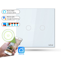 APP WiFi Remote Control Smart Light Switch EU Type 2 Gang Wall Touch Button Light Switch Works with Amazon Alexa