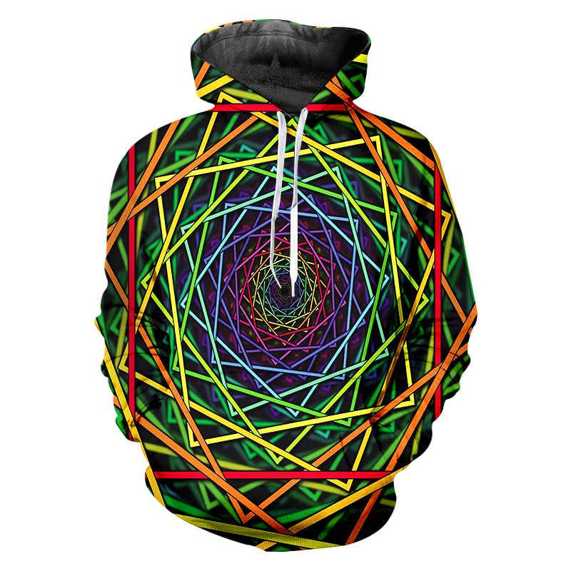 OGKB толстовки мужские модные длинные геометрические 3D пуловер принт цветные линии хип-хоп Большие размеры мужские футболки Зимние толстовки
