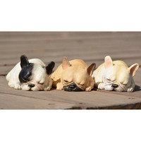 Super Lovely Sleeping Resin French Bulldog Figure Toy Artificial Crafts Model Toys Big Gift Fan Bull