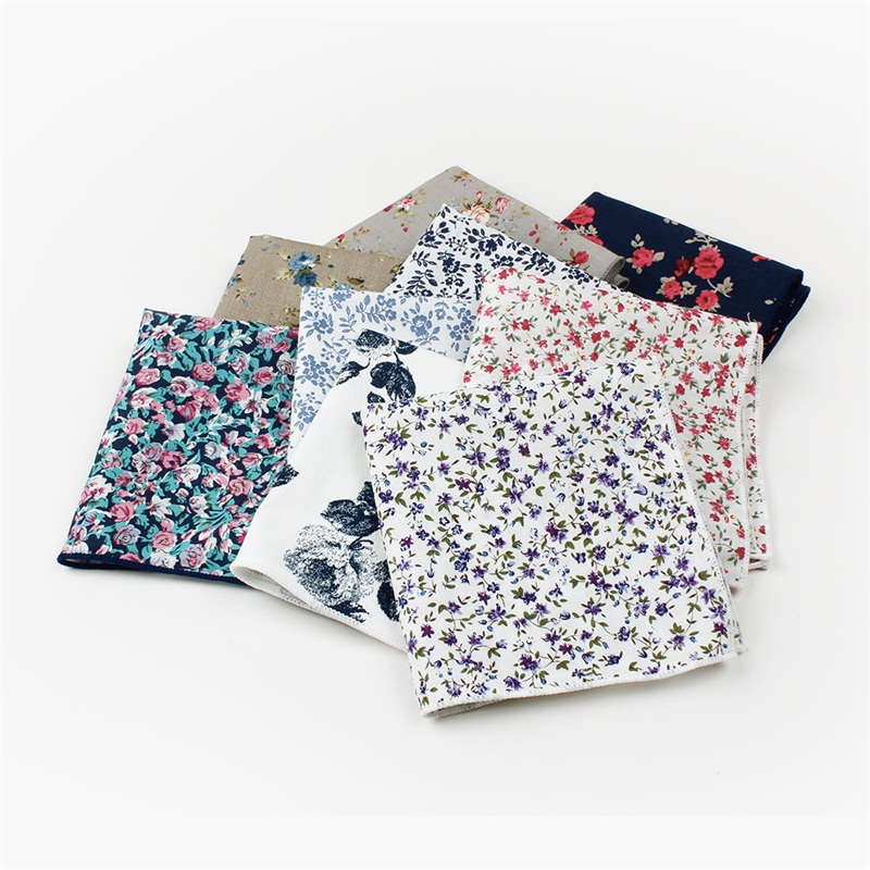 Mantieqingway Printed Floral Handkerchief For Woman Vintage Cotton Pocket Hanky For Man Comfy Handkerchief For Pocket 26*26cm